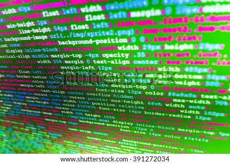 Programming code. Writing programming code on laptop. Software background. Computer script.  Source code photo. (Code is my own property there is no risk of copyright violations) - stock photo