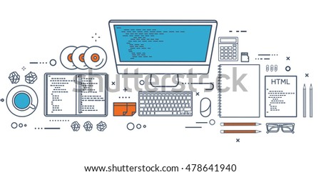 Programming,coding. Flat computing background. Code, hardware,software. Web development. Search engine optimization. Innovation technologies. Mobile app.SEO.Line art
