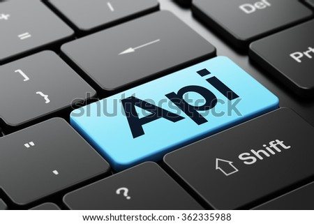 Programming concept: Api on computer keyboard background