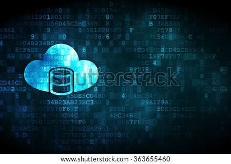 Programming concept: Database With Cloud on digital background - stock photo