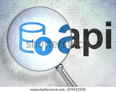 Programming concept: Database With Lock and Api with optical glass - stock photo