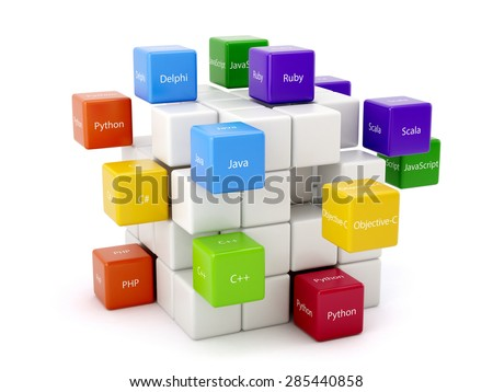 Programming concept. Different machine code languages colorful boxes isolated on white background - stock photo