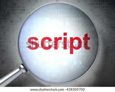 Programming concept: magnifying optical glass with words Script on digital background, 3D rendering - stock photo