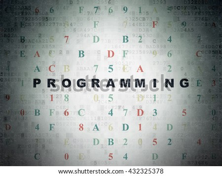 Programming concept: Painted black text Programming on Digital Data Paper background with Hexadecimal Code - stock photo