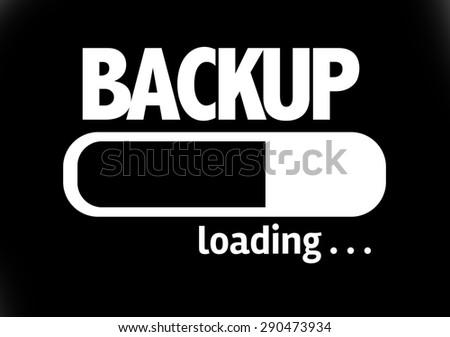 Progress Bar Loading with the text: Backup - stock photo