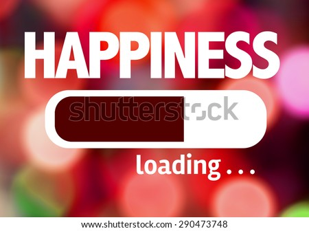 Progress Bar Loading with the text: Happiness - stock photo