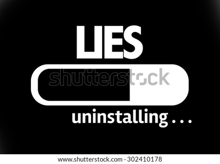 Progress Bar Uninstalling with the text: Lies - stock photo