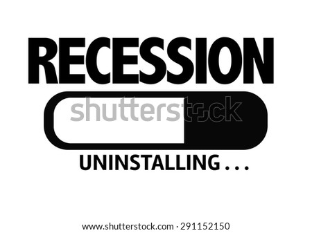 Progress Bar Uninstalling with the text: Recession - stock photo