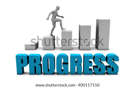 Progress 3D Concept  in Blue with Bar Chart Graph - stock photo