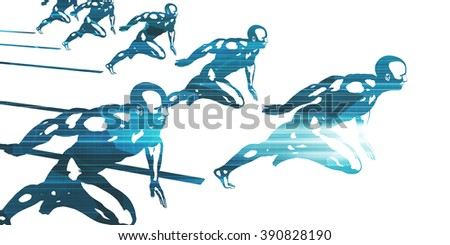 Progress in Business as a Competition Race - stock photo