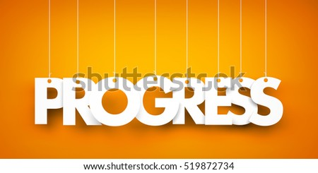 Progress - word hanging on orange background. 3d illustration