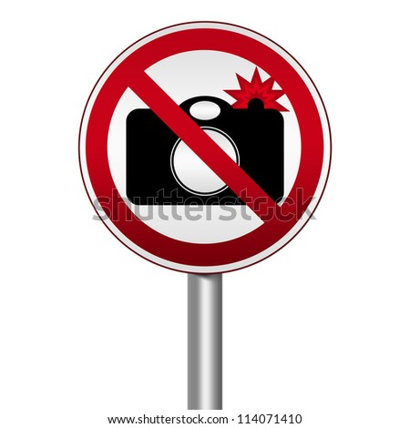 Prohibited Circle Silver Metallic and Red Metallic Border Road Sign For No Photography With Flash Sign Isolated on White Background