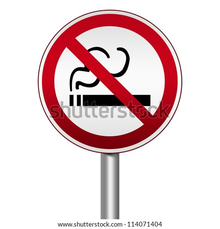 Prohibited Circle Silver Metallic and Red Metallic Border Road Sign For Smoking Area Sign Isolated on White Background For Stop Smoking Campaign - stock photo