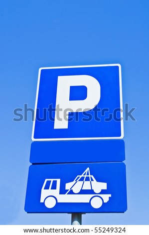 Prohibited parking metal sign - stock photo