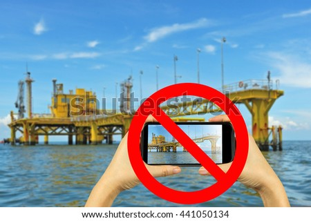 prohibited photography rig with smartphone - stock photo
