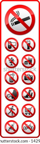 Prohibited symbols, sticky labels on the door for supermarkets. Vector version (eps) also available in gallery - stock photo