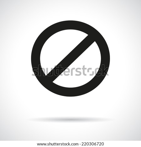 Prohibition symbol with a shadow. Black flat icon. Vector version is also available in the portfolio. - stock photo