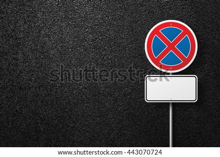 Prohibitory road sign. Blank road signs. Behind the sign one can see a smooth asphalt road. No parking. The texture of the tarmac, top view. - stock photo
