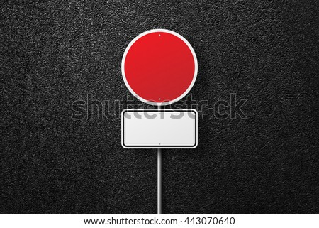 Prohibitory road sign. Blank road signs. Behind the sign one can see a smooth asphalt road. The texture of the tarmac, top view. - stock photo