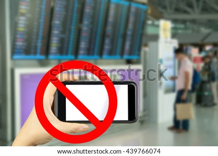Prohibitory signs. sign forbidden stopping is prohibited shooting in airport - stock photo
