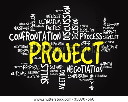 Project Business & finance related word cloud, presentation background - stock photo