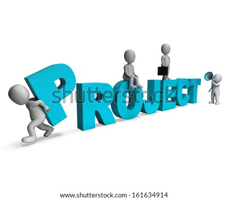 Project Characters Showing Venture Projects And Tasks - stock photo