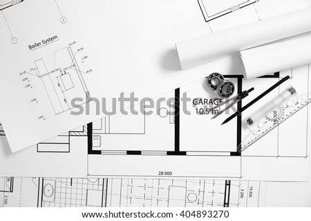 Project drawings and tools. - stock photo