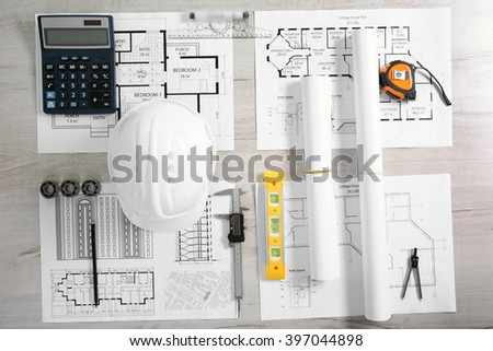 Project drawings and tools, top view - stock photo
