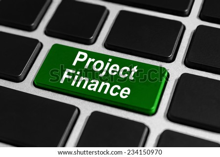 project finance button on keyboard, Project finance is the long-term financing based upon the projected cash flows of the project - stock photo