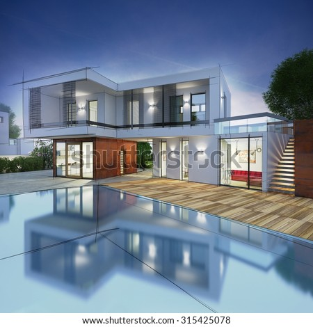 Project for a villa with drawn contours - stock photo
