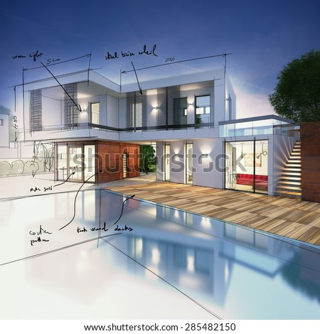 Project for a villa with notes drawn - stock photo