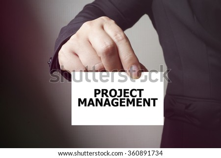 PROJECT MANAGEMENT paper on the card , business concept , business idea - stock photo