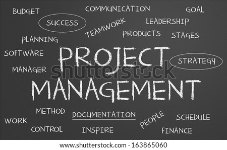 Project management word cloud written on a chalkboard - stock photo