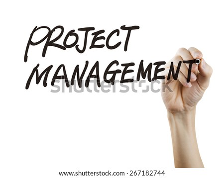 project management words written by hand over white background - stock photo