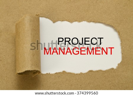 Project Management written under torn paper - stock photo