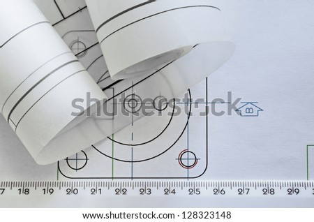 project mechanical engineer and graphic meters - stock photo