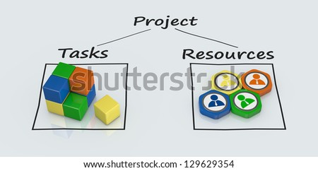 project plan diagram with icons (3d render) - stock photo