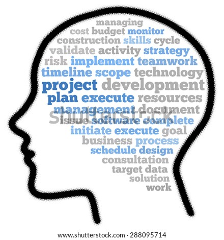 Project plan in word cloud concept - stock photo