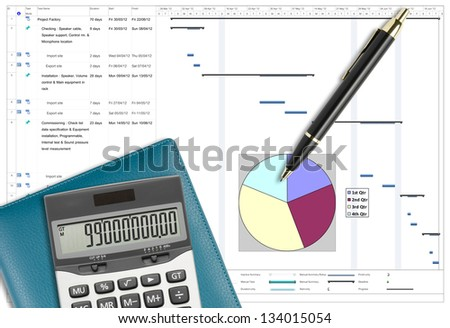 Project schedule analysis with pen, calculator & notebook on white paper planing - stock photo