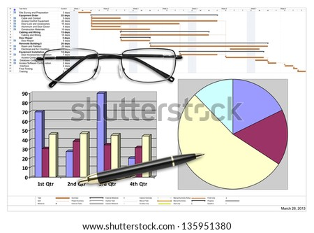Project schedule with financial analysis, pen & eyeglasses on white - stock photo