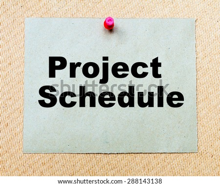Project Schedule written on paper note pinned with red thumbtack on wooden board. Business conceptual Image - stock photo
