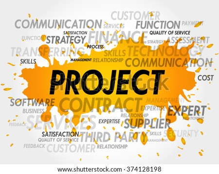 PROJECT word cloud, business concept - stock photo