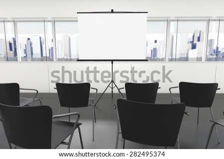 Projection Screen and Chairs in office - stock photo