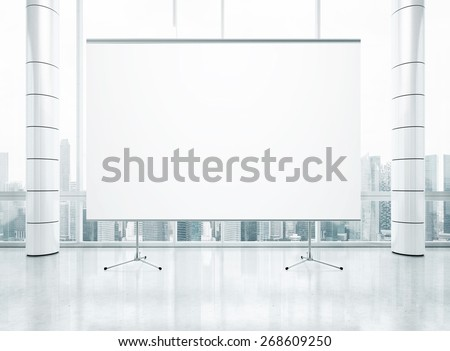 Projection screen on the background of panoramic window. 3D rendering - stock photo