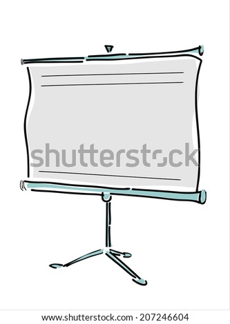 Projection screen or whiteboard - stock photo