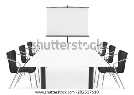 Projection Screen, Table and Chairs on a white background - stock photo