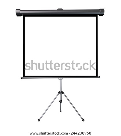 Projection screen with a blank white frame as a three dimensional isolated business presentation object. - stock photo