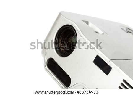 Projector multimedia silver colour on white background