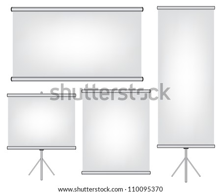 Projector screen and roll up banner illustration - stock photo
