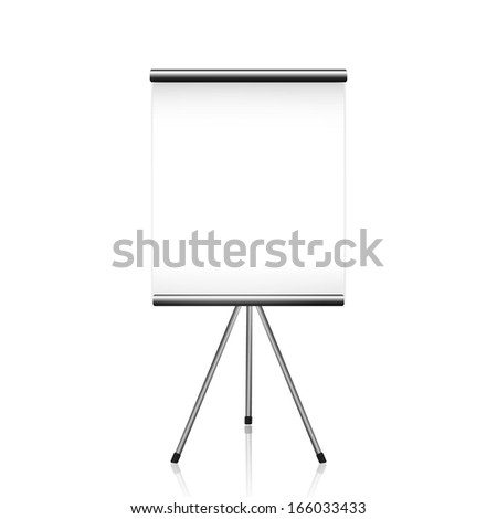 Projector screen tripod on white. Rasterized copy